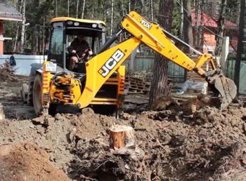 Удаление деревьев трактором